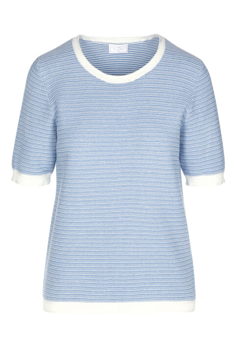 Textured cotton striped top