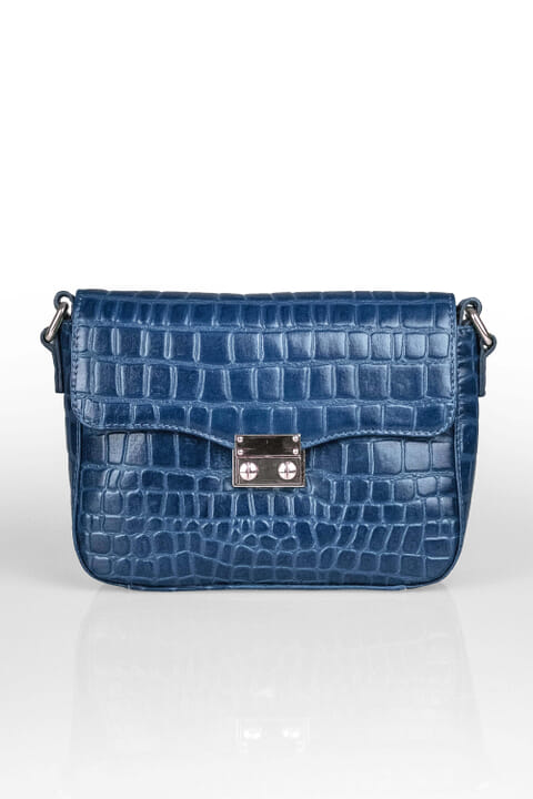 Mock-croc leather handbag
