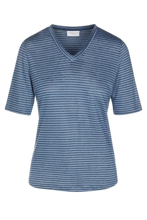 Linen Jersey V Neck Stripe Top