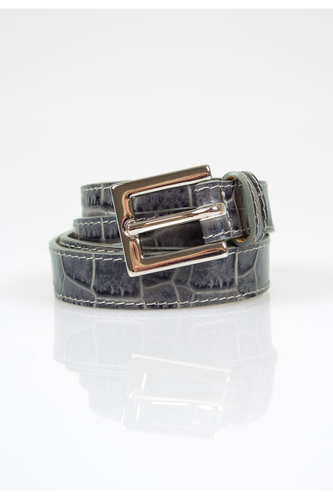 Mock-croc leather belt